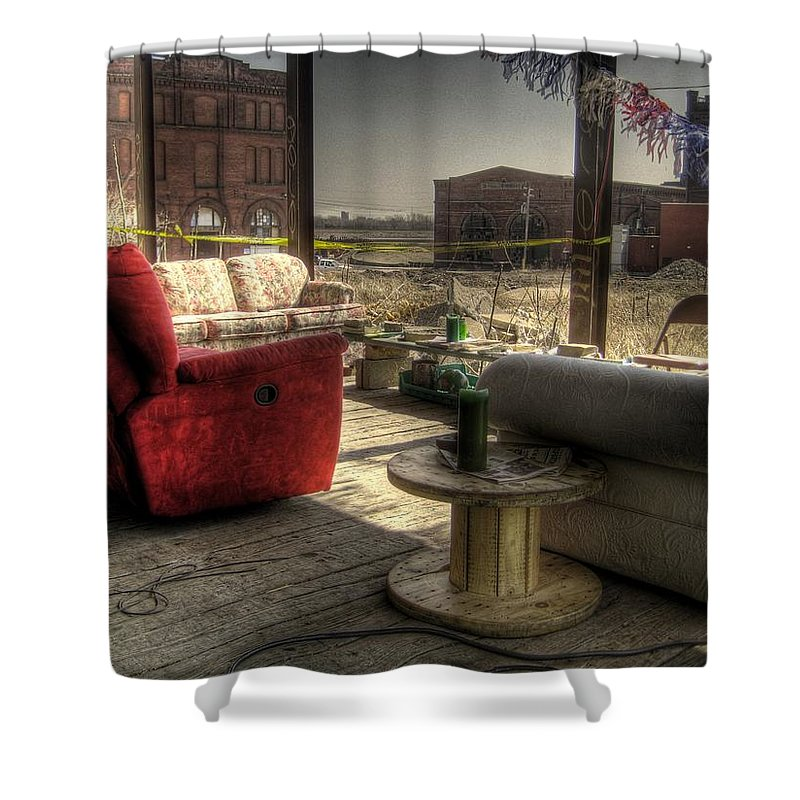 Hdr Shower Curtain featuring the photograph North St. Louis Porch by Jane Linders