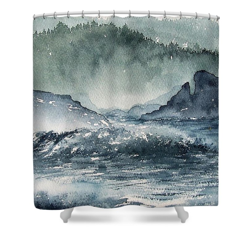 Ocean Shower Curtain featuring the painting Northern California Coast by Gale Cochran-Smith
