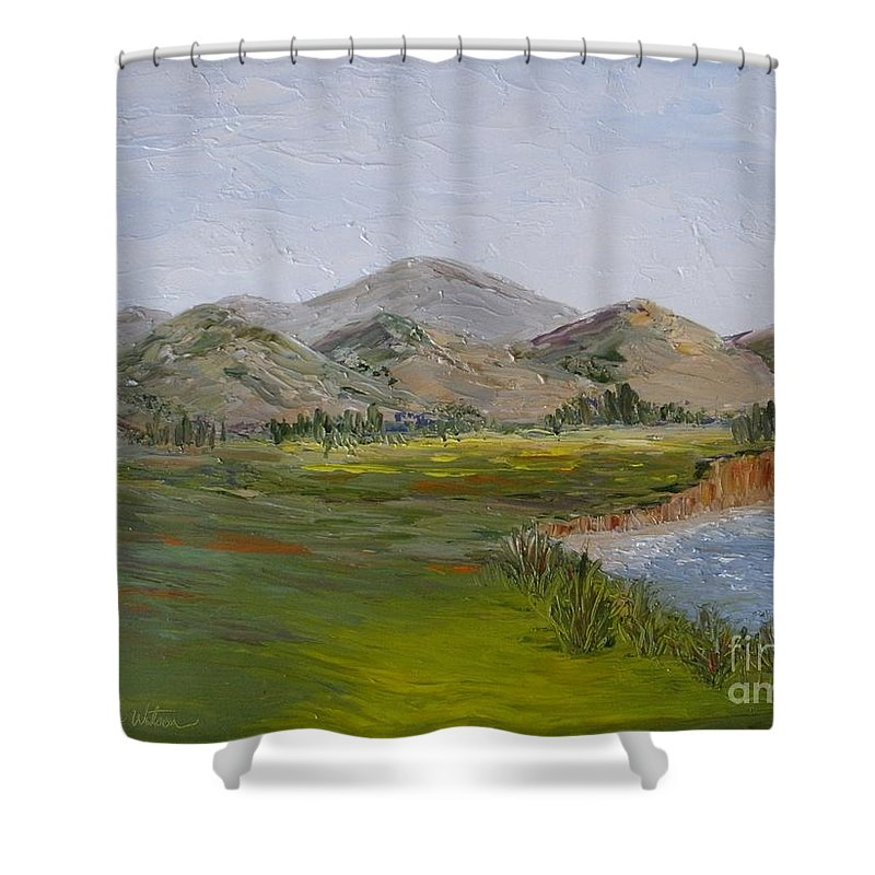 Landscape Shower Curtain featuring the painting Northern California Coast Line by Jeanie Watson