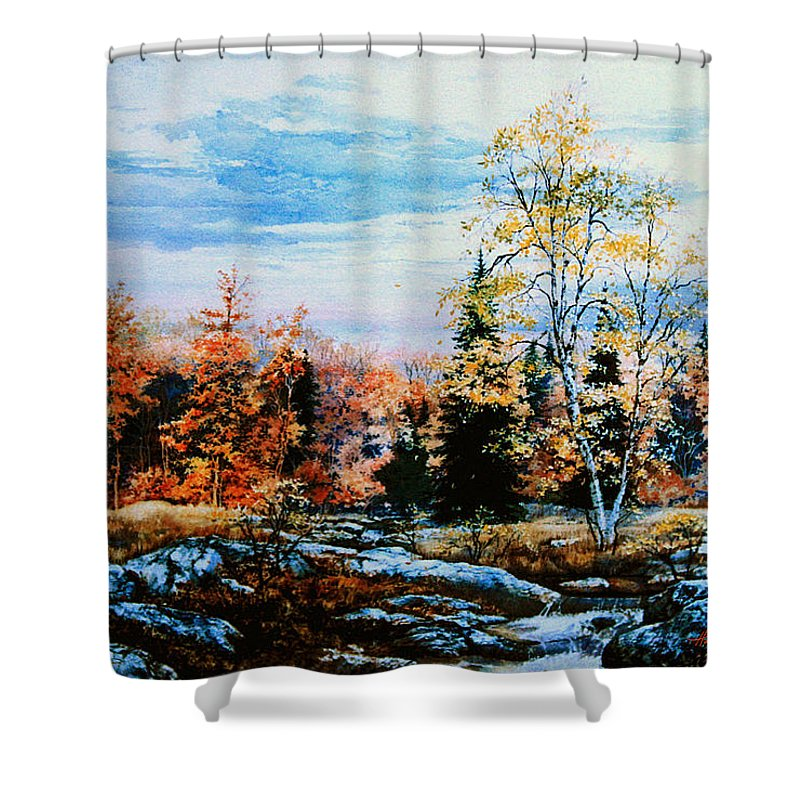 Northern Gold Painting Shower Curtain featuring the painting Northern Gold by Hanne Lore Koehler