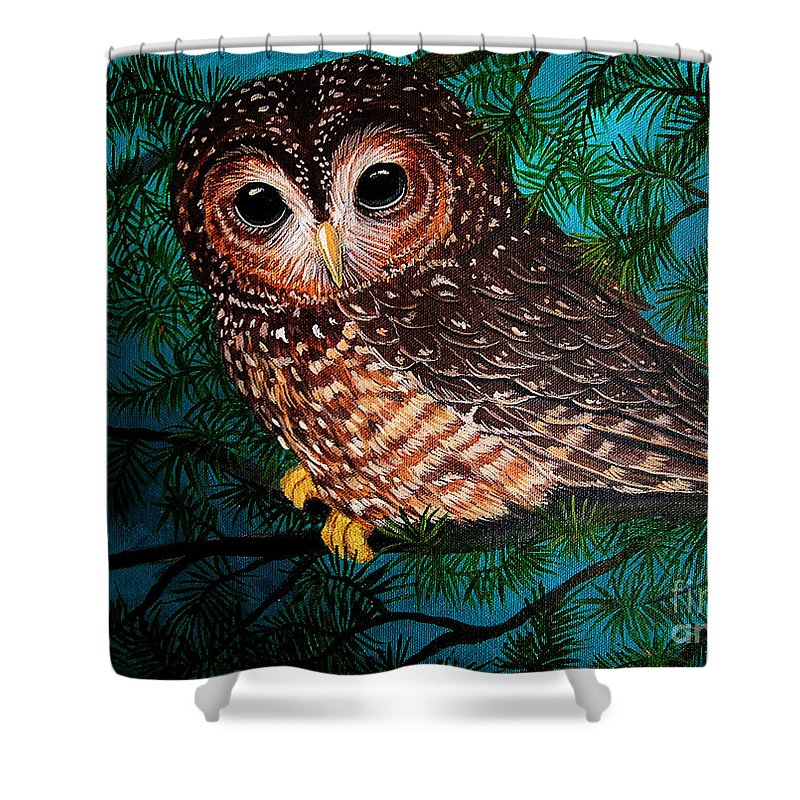 Owl Painting Shower Curtain featuring the painting Northern Spotted Owl by Nick Gustafson