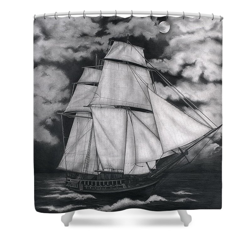 Ship Sailing Into The Northern Winds Shower Curtain featuring the drawing Northern Winds by Larry Lehman