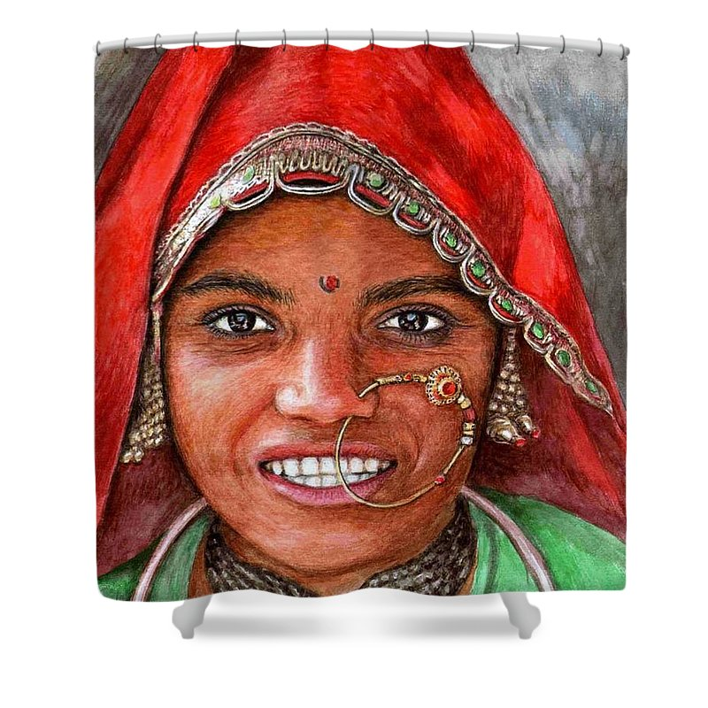 Woma Shower Curtain featuring the painting Northindian Woman by Nicole Zeug