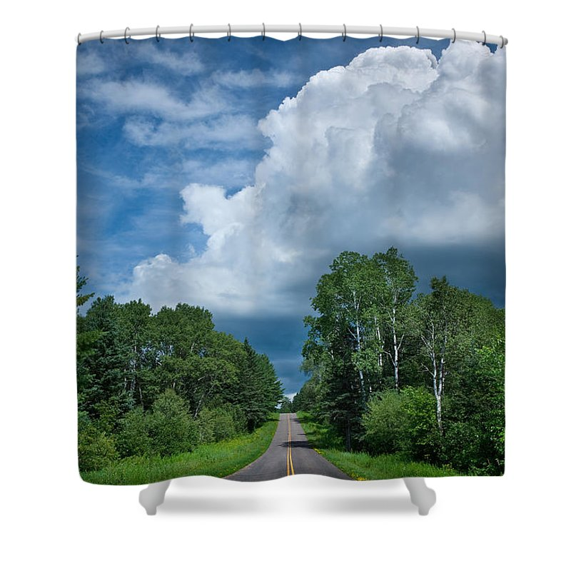 Cloud Shower Curtain featuring the photograph Northwoods Road Trip by Steve Gadomski