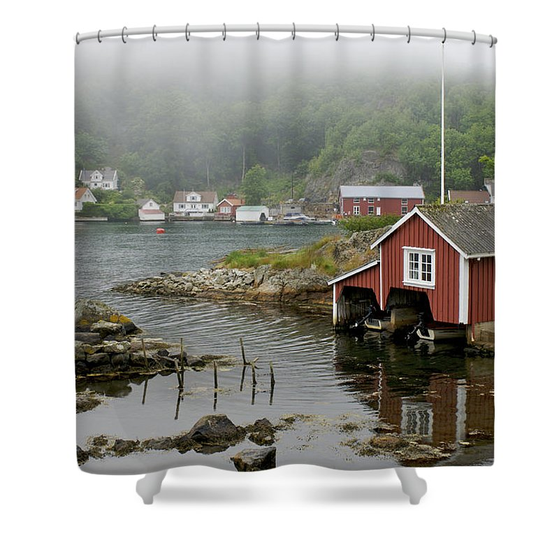 Nobody Shower Curtain featuring the photograph Norway, Fishing Village by Keenpress