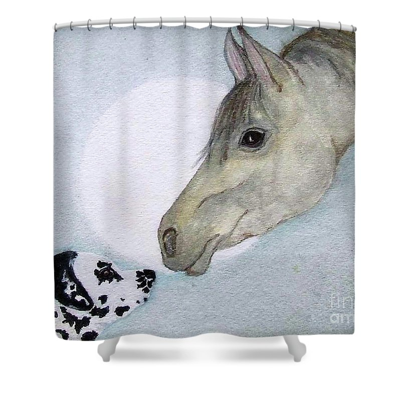 Dog Shower Curtain featuring the painting Nose 2 Nose by Jacki McGovern