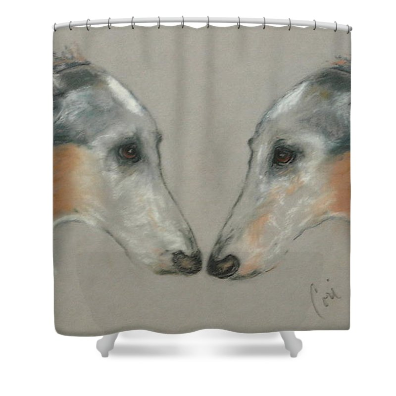 Dog Shower Curtain featuring the drawing Nose To Nose by Cori Solomon