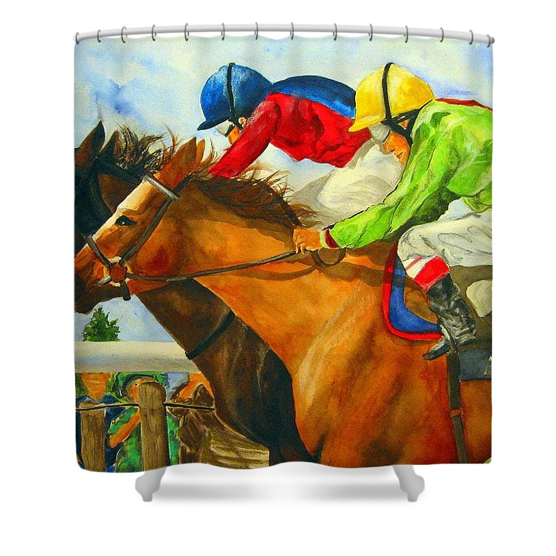 Horse Shower Curtain featuring the painting Nose To Nose by Jean Blackmer