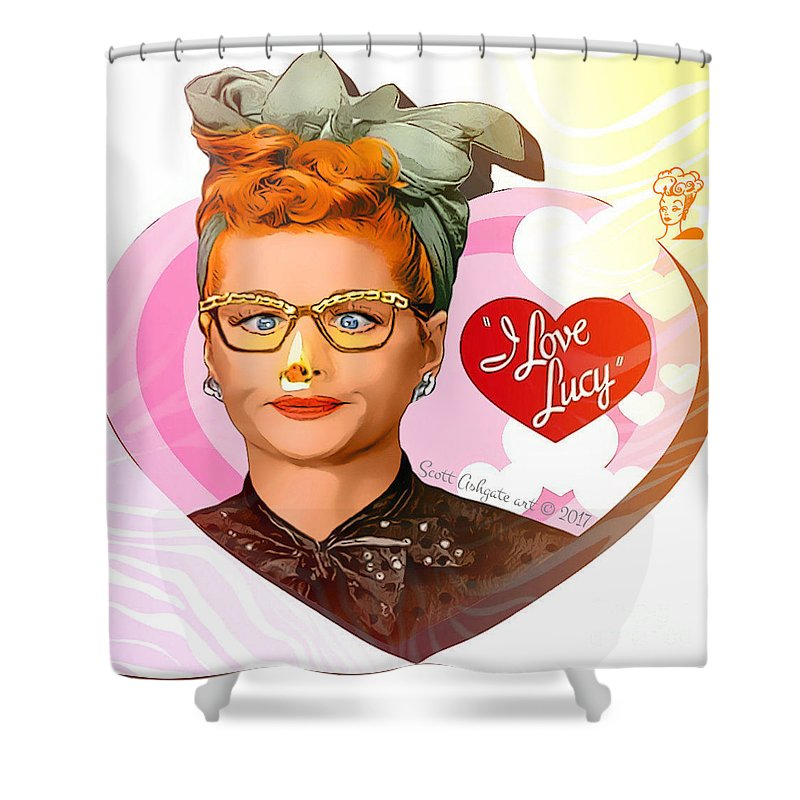Lucy Ball Shower Curtain Featuring The Digital Art Nosejob I Love By Scott Ashgate