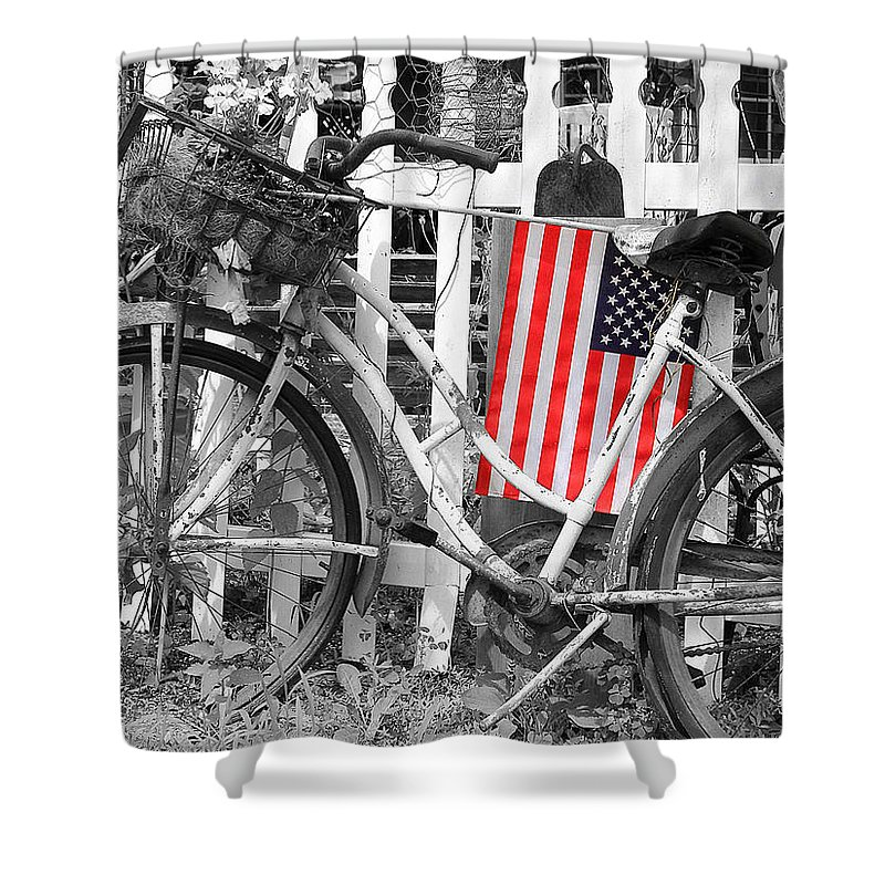 Bike Shower Curtain featuring the photograph Nostalgic Collection-b And W by Brian Pflanz