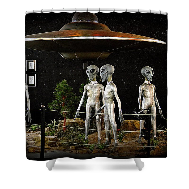 Statues Shower Curtain featuring the photograph Not Of This Earth by AJ Schibig