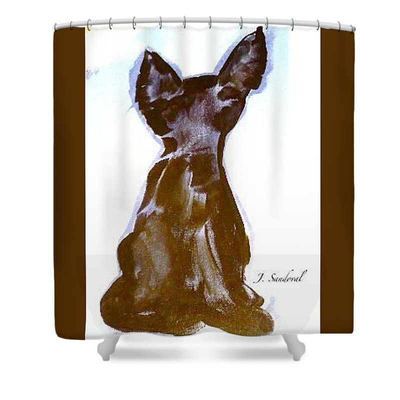 Not Picasso's Cat Was Created With The Use Of Acrylic On Untreated Canvas Shower Curtain featuring the painting Not Picasso's Cat by Jeannine Sandoval