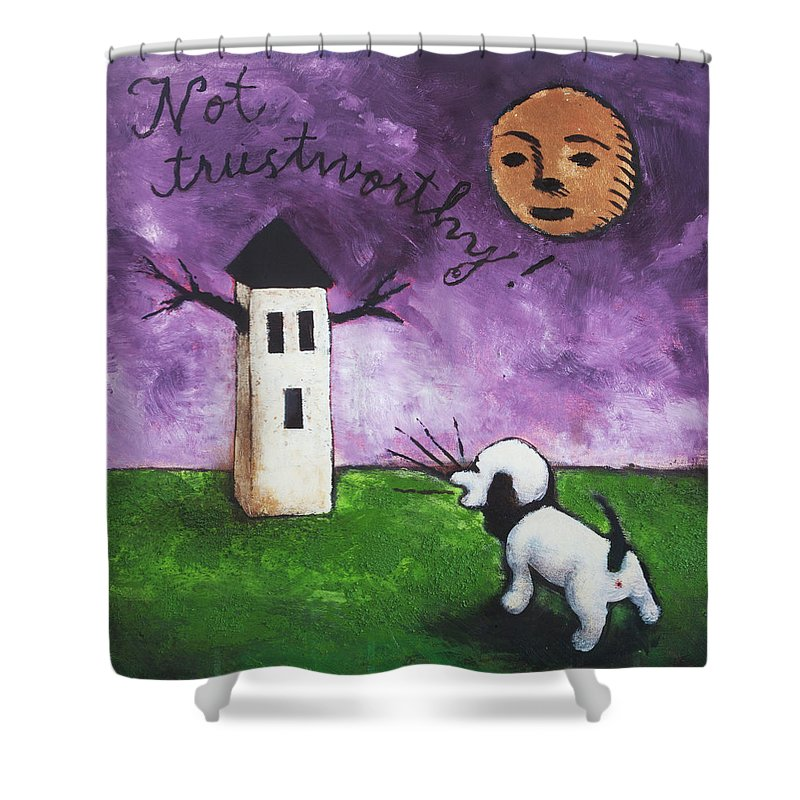 Dog Shower Curtain featuring the painting Not Trustworthy by Pauline Lim