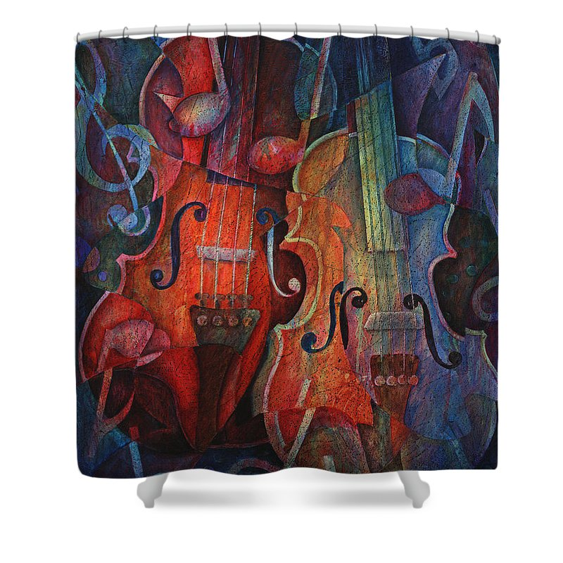 Susanne Clark Shower Curtain featuring the painting Noteworthy - A Viola Duo by Susanne Clark