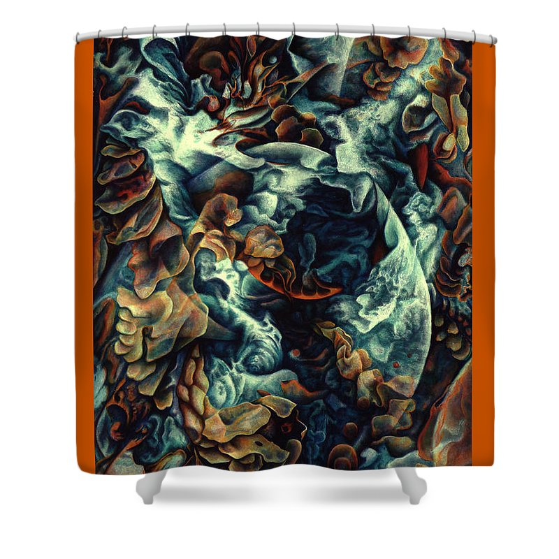 Spiritual Paintings Shower Curtain featuring the painting Nothing And Everything by Nad Wolinska