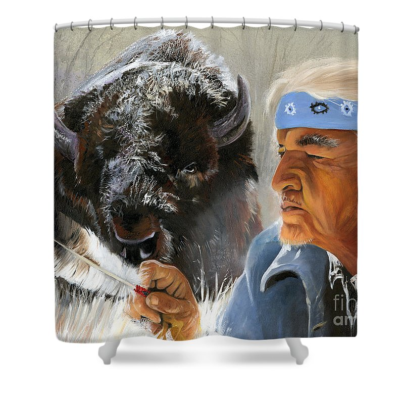 Southwest Art Shower Curtain featuring the painting Nothing Is Ever Forgotten by J W Baker