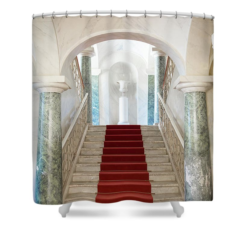 Architecture Shower Curtain featuring the photograph Noto, Sicily, Italy - Luxury Entrance Of Nicolaci Palace by Paolo Modena