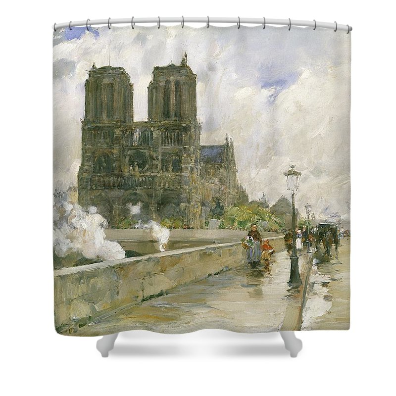 Notre Dame Cathedral Paris Shower Curtain For Sale By Childe Hassam