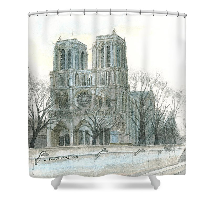 Notre Dame Shower Curtain featuring the painting Notre Dame Cathedral In March by Dominic White