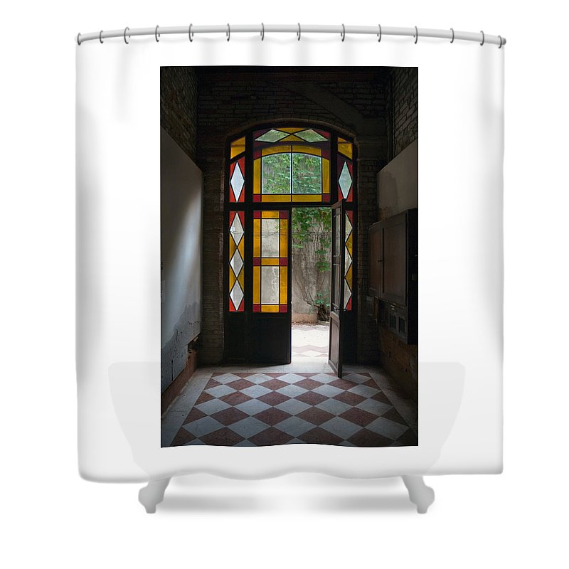 Venice Shower Curtain featuring the photograph Apartment Entrance - Venice, Italy by Dan Nourie