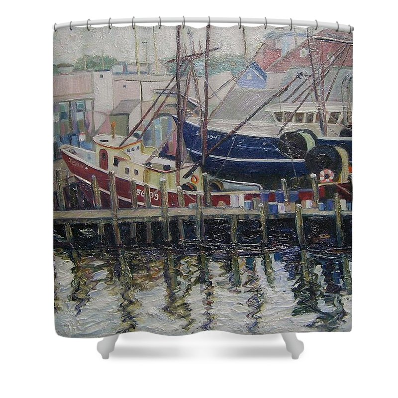 Boats Shower Curtain featuring the painting Nova Scotia Boats At Rest by Richard Nowak