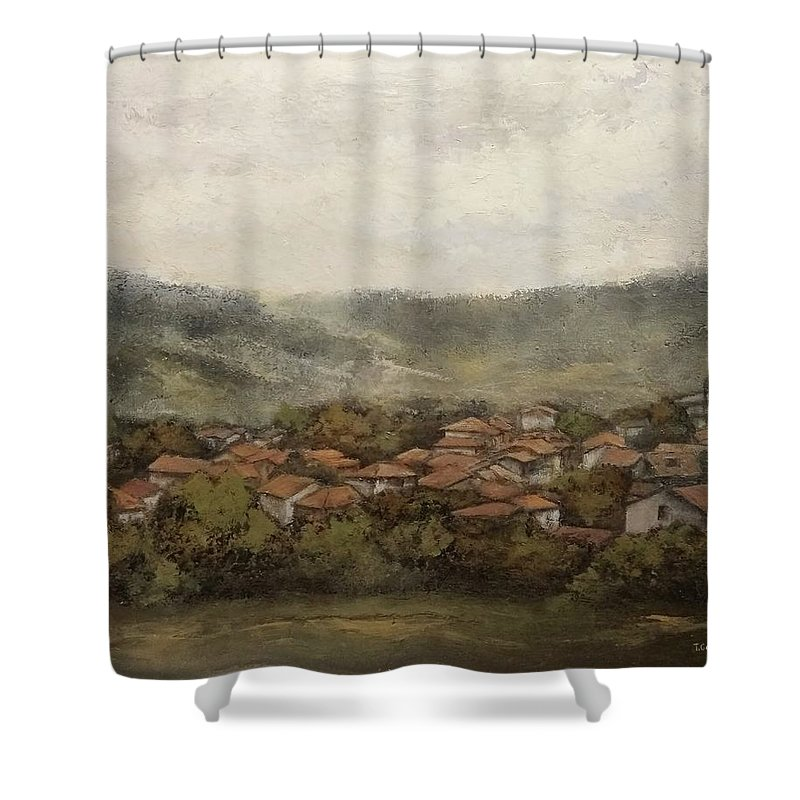 Cantabria Shower Curtain featuring the painting Novales-Cantabria by Tomas Castano