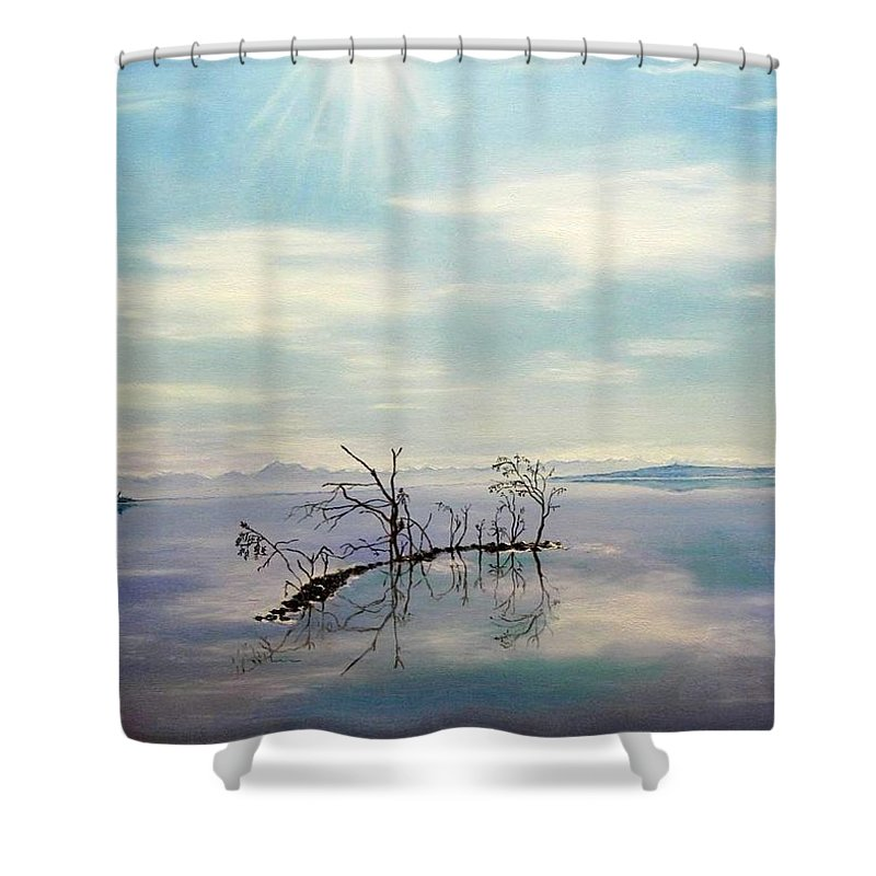 Late Novemeber In Bavaria Shower Curtain featuring the painting November On A Bavarian Lake by Helmut Rottler
