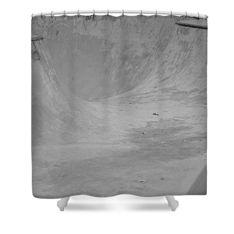 Monochrome Shower Curtain featuring the photograph November Skatescape #2 by Kirk Griffith