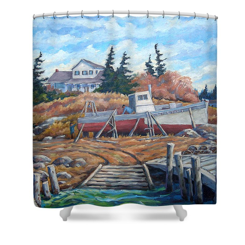 Boat Shower Curtain featuring the painting Novia Scotia by Richard T Pranke