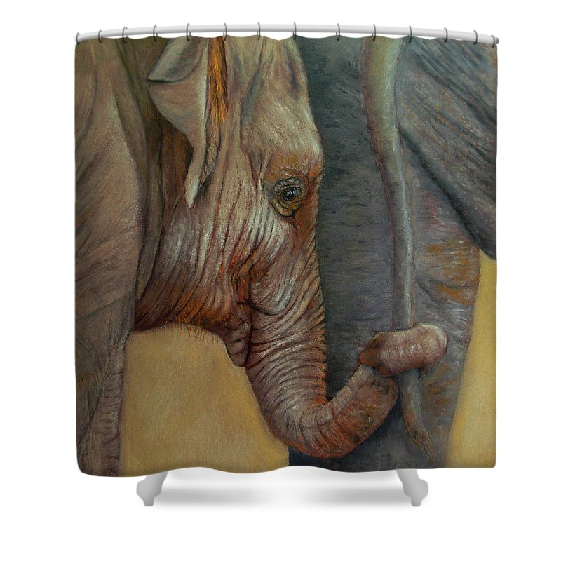 Africa Shower Curtain featuring the painting Now You Hold On Tight by Ceci Watson