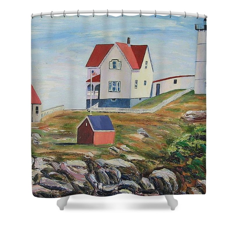 Nubble Light House Shower Curtain featuring the painting Nubble Light House Maine by Richard Nowak