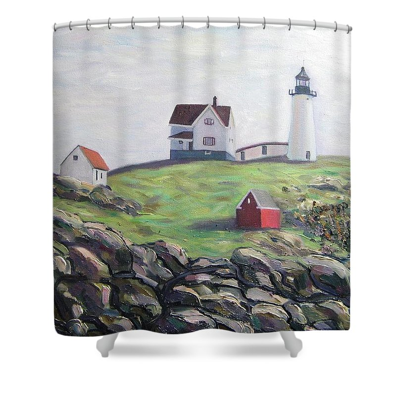 Maine Shower Curtain featuring the painting Nubble Light House by Richard Nowak