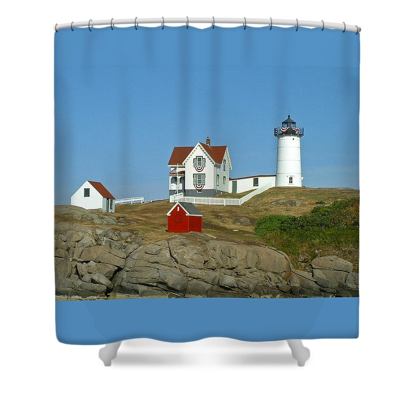 Nubble Shower Curtain featuring the photograph Nubble Light by Margie Wildblood