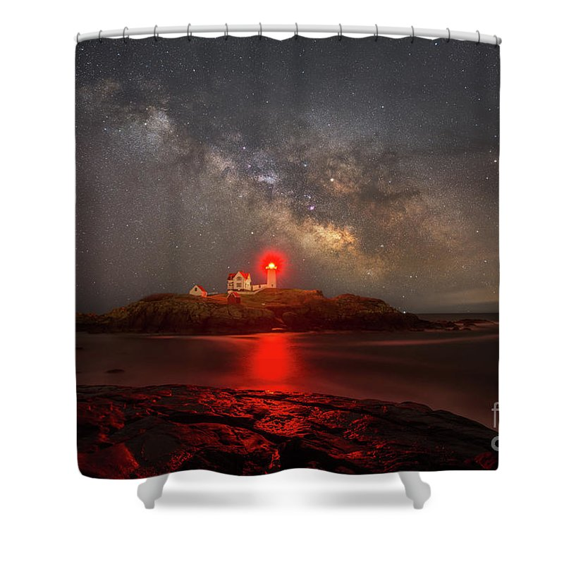Nubble Lighthouse Shower Curtain featuring the photograph Nubble Light Milky Way Rising by Michael Ver Sprill