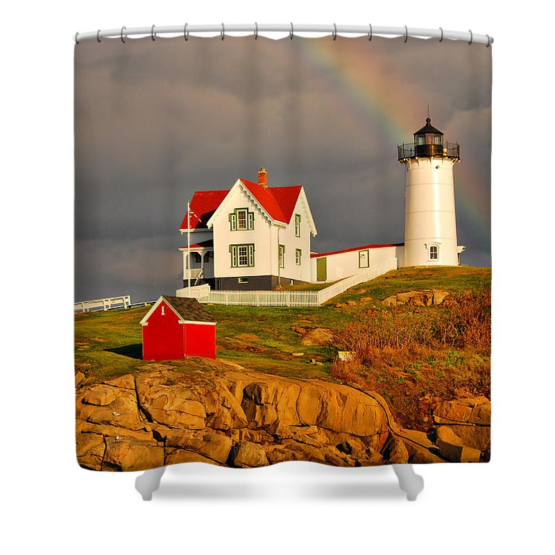 Lighthouse Shower Curtain featuring the photograph Nubble Lighthouse by Cliff Nixon