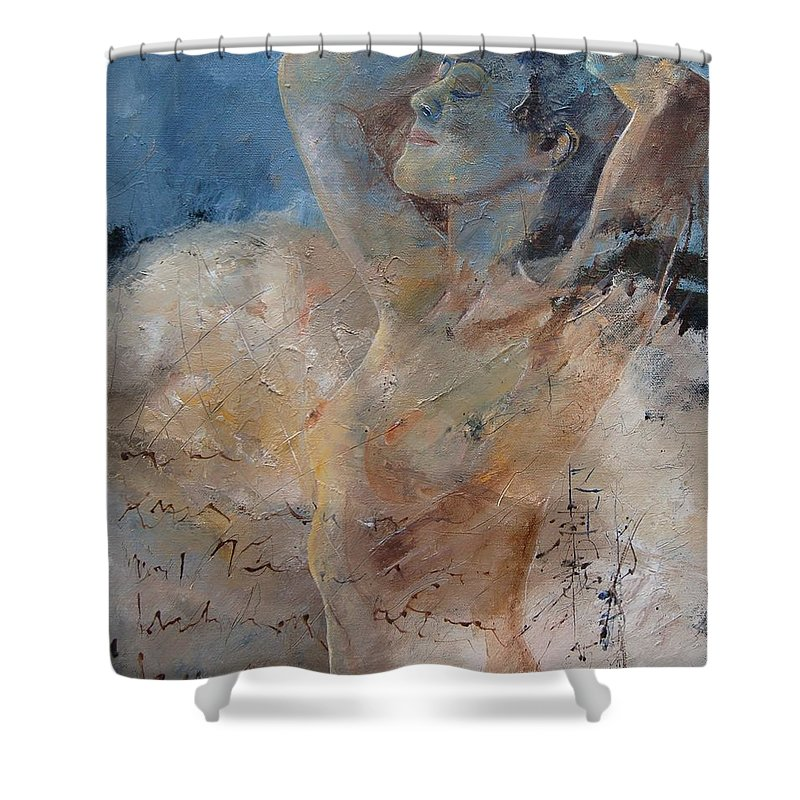 Nude Shower Curtain featuring the painting Nude 0508 by Pol Ledent