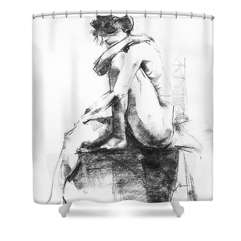 Nude Shower Curtain featuring the drawing Nude 11 by Ani Gallery