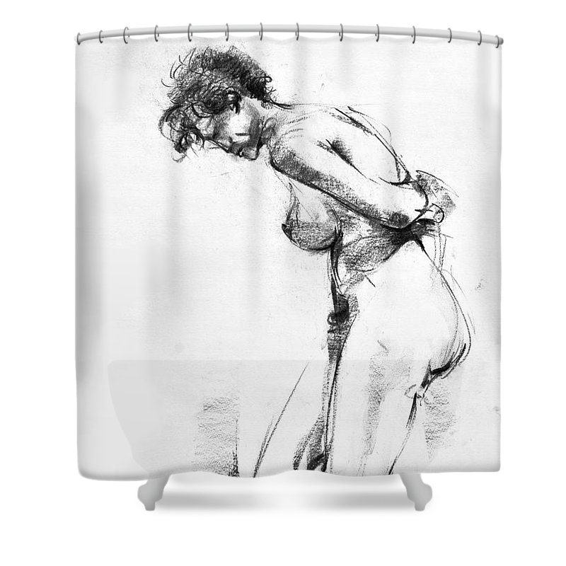 Nude Shower Curtain featuring the drawing Nude 2 by Ani Gallery