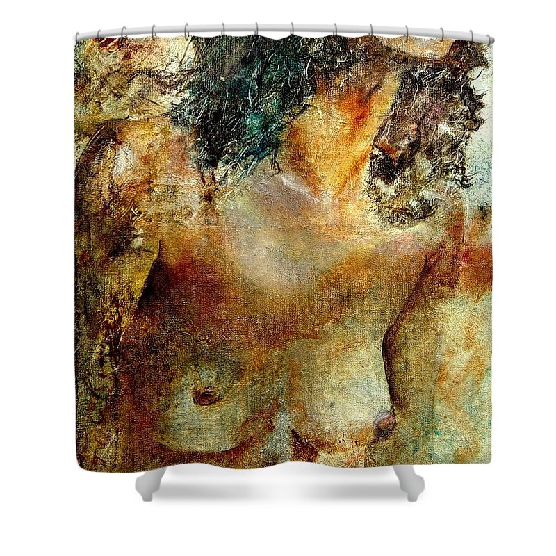 Girl Nude Shower Curtain featuring the painting Nude 34 by Pol Ledent