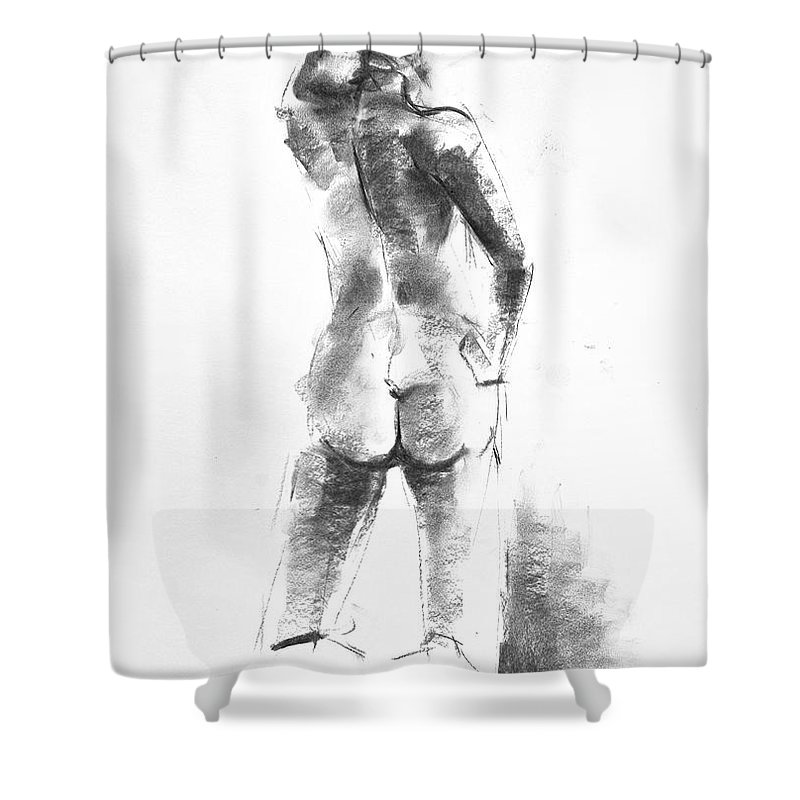 Nude Shower Curtain featuring the drawing Nude 44 by Ani Gallery
