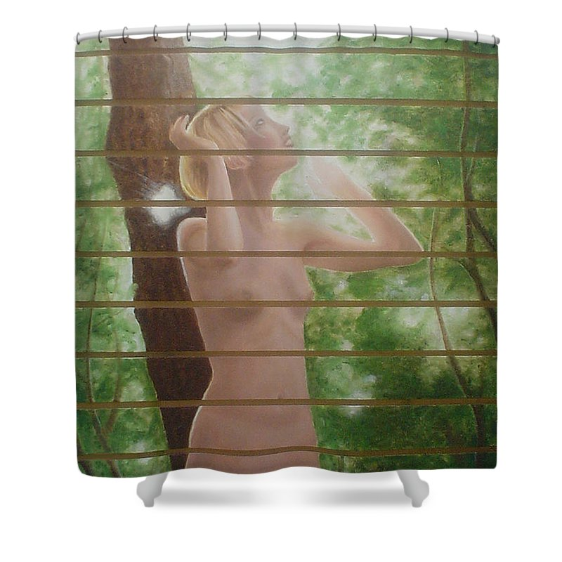 Realistic Shower Curtain featuring the painting Nude Forest by Angel Ortiz