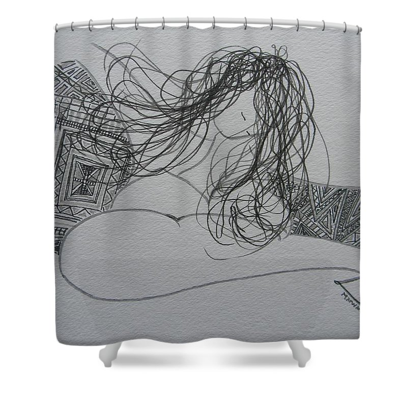 Marwan Shower Curtain featuring the drawing Nude I by Marwan George Khoury