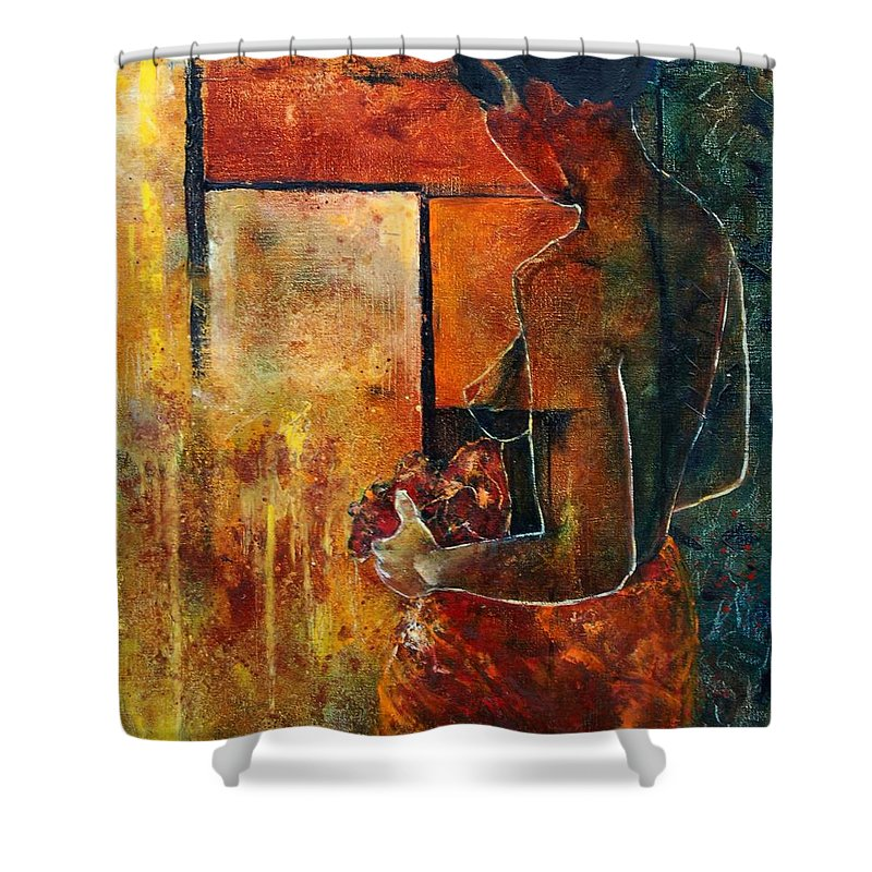 Woman Girl Fashion Nude Shower Curtain featuring the painting Nude by Pol Ledent