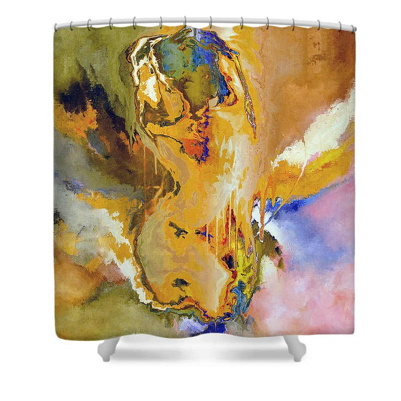 Abstract Shower Curtain featuring the digital art Nude Pose II by Ronald Bolokofsky