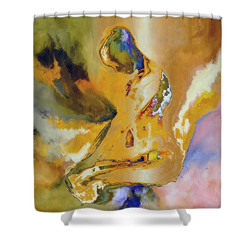 Abstract Shower Curtain featuring the digital art Nude Pose IIi by Ronald Bolokofsky