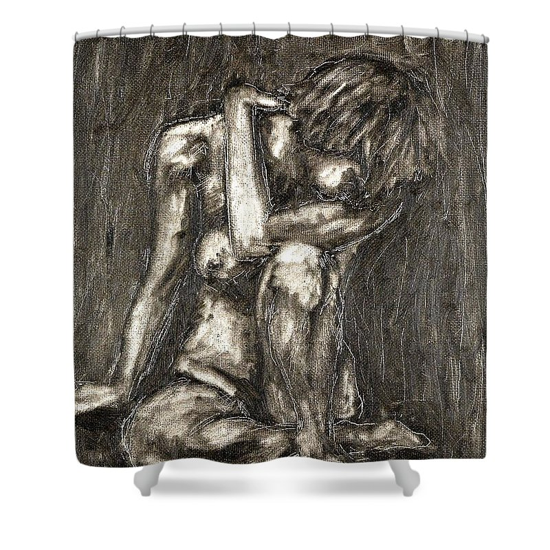 Clay Shower Curtain featuring the painting Nude by Thomas Valentine