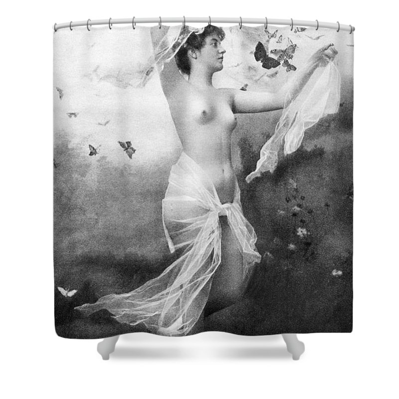 1900 Shower Curtain featuring the painting Nude With Butterflies by Granger