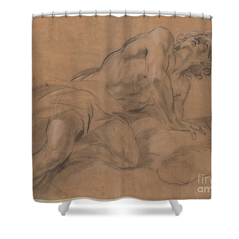 Shower Curtain featuring the drawing Nude Youth Leaning On A Cloud And Gazing Upward by Giovanni Battista Beinaschi