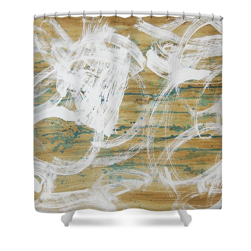 Abstract Shower Curtain featuring the painting Nuevo Colores by Lauren Luna