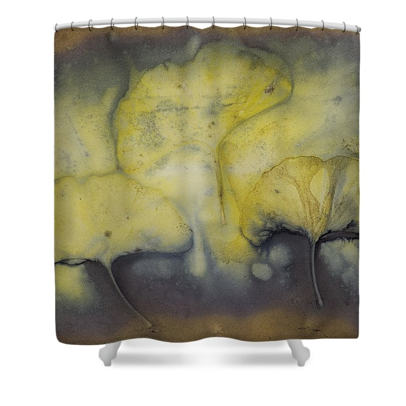 Jan Shower Curtain featuring the mixed media Number 39 by Jan Durham